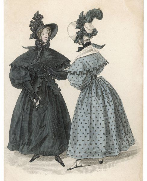 Pelerine with dentilated border; dress with full sleeves (tight from elbow to wrist - 'Medici'). Worn with a belt & large bonnet. Shown in black & a polka dot fabric