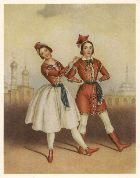 Two of the leading dancers of the day - Carlotta Grisi and Jules Perrot - perform the fashionable polka