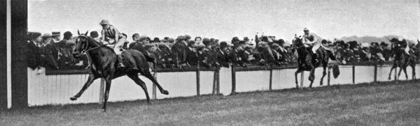 The finish for the Duke of York Stakes, held at this time at Kempton Park racecourse - the favourite, Polymelus, wins in a canter