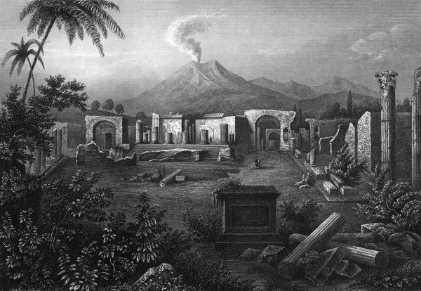 The ruined Forum in 1850 : Vesuvius is puffing away in the distance. Date: 1850