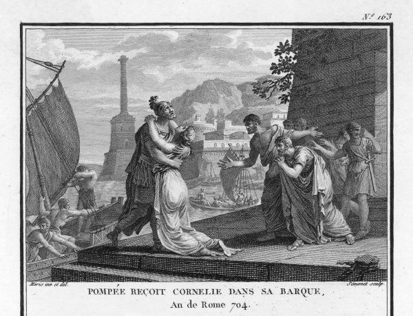 Pompeius, who has fled to Egypt, is joined by his wife Cornelia