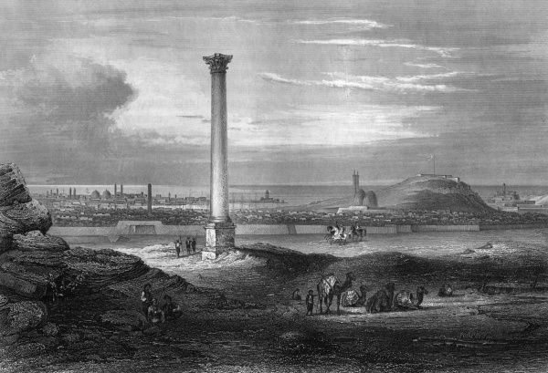 'Pompey's Pillar' - wrongly believed to contain remains of Roman general Pompey, this pillar near Alexandria was raised in the 4th century to honour the emperor Diocletian. Date: 4th century / 1850