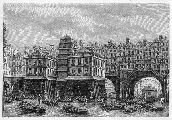 The Pont Notre-Dame in the 18th century : water-jousting is taking place on the Seine