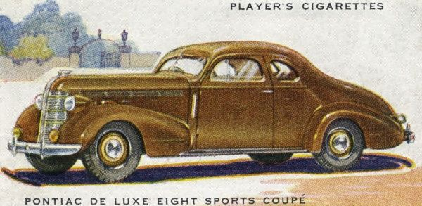 Pontiac's De Luxe Eight Sports Coupe, a handsome two-door tourer. Date: 1937