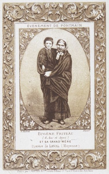 Eugene Friteau, one of the farm children who sees a vision of the Virgin Mary as the Prussian Army sweeps through France ; with his grandmother