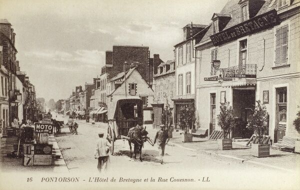 Pontorson, France - The Brittany Hotel on Rue Couesnon Date: circa 1910s