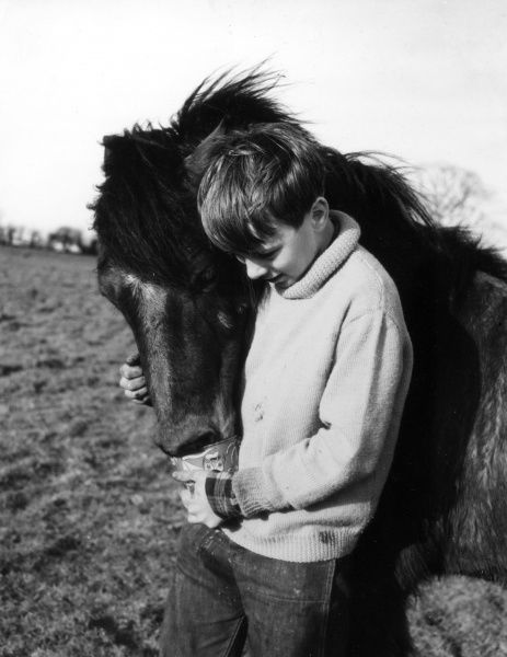 Study of a boy giving his pony a loving cuddle. Date: 1960s