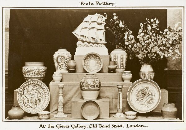 Poole Pottery on display at the Gieves Gallery at 22 Old Bond Street, London. Poole Pottery was founded in 1873 on Poole quayside, where it continued to produce pottery by hand before moving its factory operations away from the quay in 1999