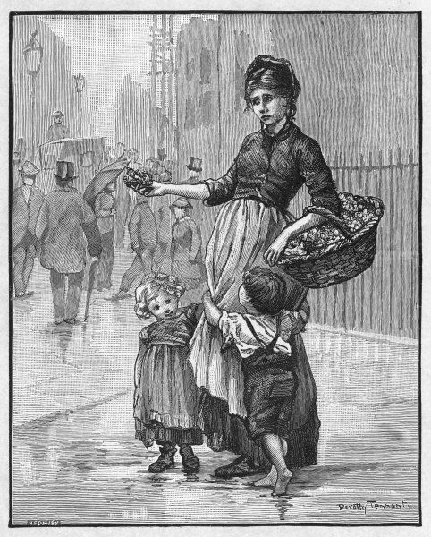 An impoverished London flower girl sells posies on the street with her two children