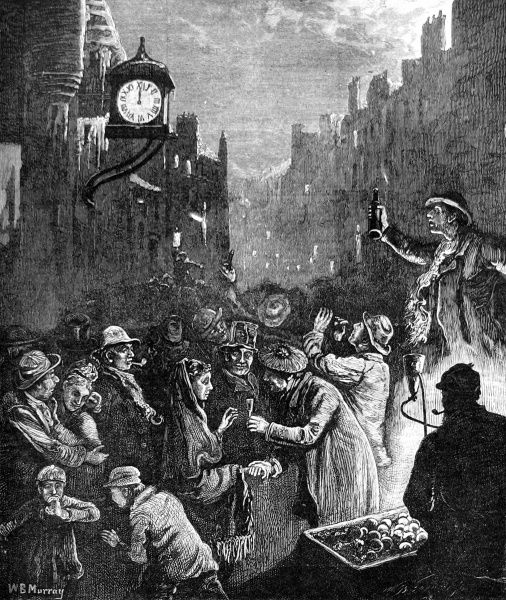 A crowded street scene showing the poor on New Year's Eve in Edinburgh, Scotland, where a man gallantly holds the hand of a woman and offers her a festive drink
