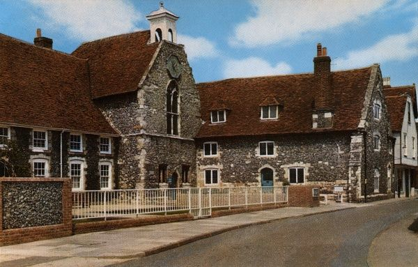 View of the Poor Priests Hospital on what is now Stour Street in Canterbury, Kent, dating back to the 12th century. In 1727, the building was adopted for use as the city's workhouse. It is now a museum