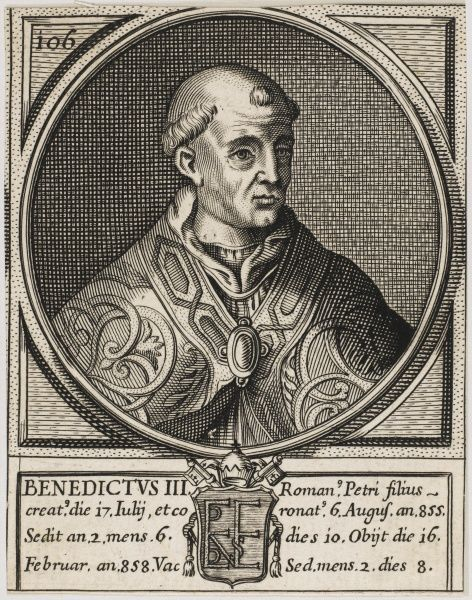 Pope Benedictus III had a reputation for learning and piety. Died 858
