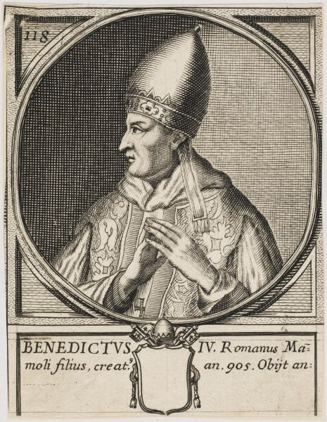 Pope Benedictus IV the son of Mammalus. Died 903