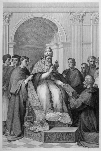 POPE GREGORIUS IX (Ugolino dei Conti di Segni) approving the decretum (collection of papal decrees) collected by Gratian, 1140