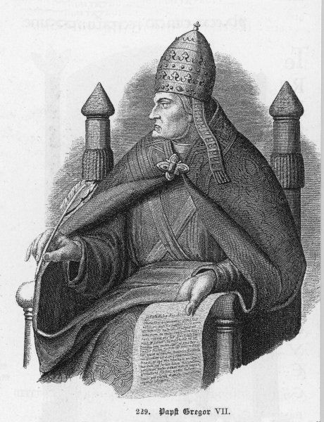 POPE GREGORIUS VII (Hildebrand) pope and saint, noted for his quarrel with emperor Heinrich IV whom he compelled to stand in penance at Canossa