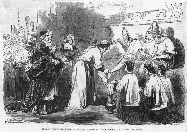 Pope Gregory XVI washing the feet of poor priests on Holy Thursday