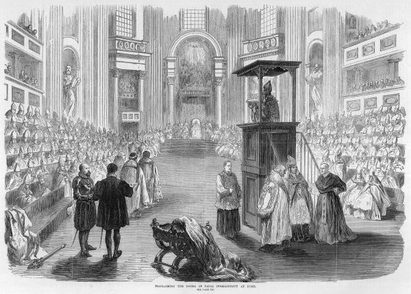 Pope Pius IX announces that the Pope is infallible when he is speaking 'ex cathedra&#39