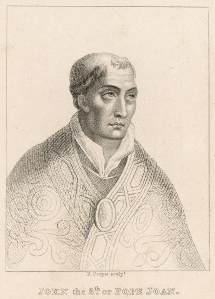 Pope Joannes (John) VIII the first pope to be assassinated, rather than martyred. This engraving can also be taken as a representation of Pope Joan who, as legend would have it, reigned as pope under the name of John earlier in the 9th century