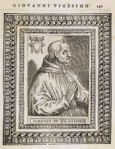 POPE JOANNES XXI (Pedro Juliani) Portuguese philosopher who died when his laboratory collapsed on him (Sometimes k.a. Joannes XX)