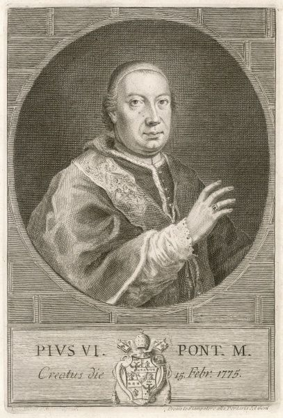 POPE PIUS VI (Giovanni Angelo Braschi) captured and deported to Valence by the French