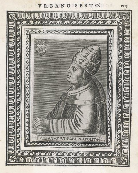 POPE URBANUS VI (Bartolommeo Prignano) After a stormy election, he acted so severely that most cardinals withdrew allegiance, leading to Avignon schism