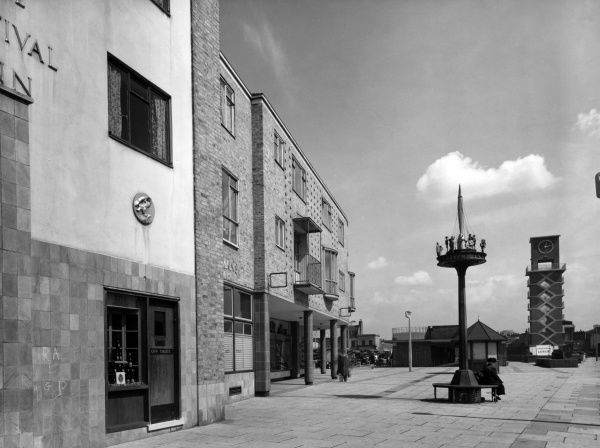 Poplar tidied up for the Festival of Britain : shops and the Festival Inn. Date: 1952