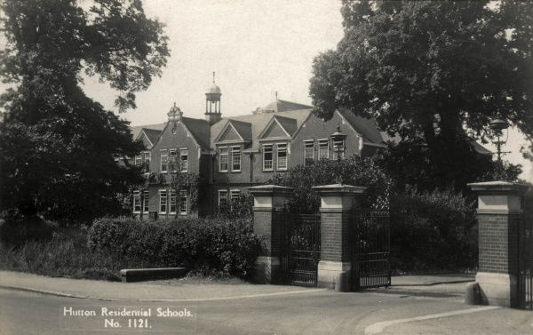Entrance gates of the Poplar Schools which were established in 1906 between Shenfield and Hutton, near Brentwood, Essex, to house pauper children away from the workhouse