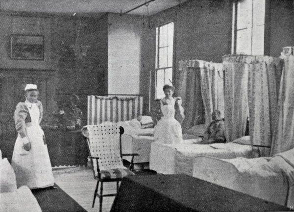 Nurses and patients in the women's infirmary at the Poplar Poor Law Union workhouse in the East End of London. Date: 1903