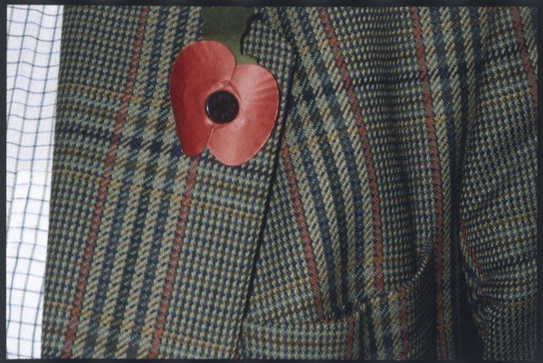 A remembrance poppy on the lapel of a tweed jacket