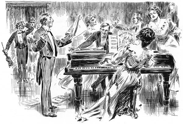 Incongruous glimpse of a stately home music room, with the upper class occupants enjoying the popular music of the day: ragtime. A young woman plays 'Ragtime Susie' on a grand piano, while a violinst looks on the scene with bemusement