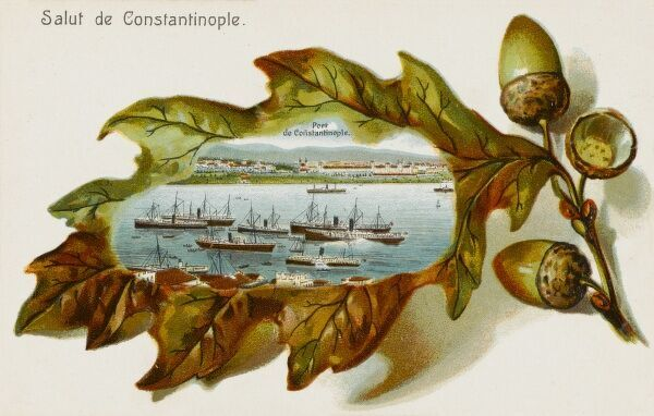 The Port of Constantinople set within a border of oak leaf and acorns
