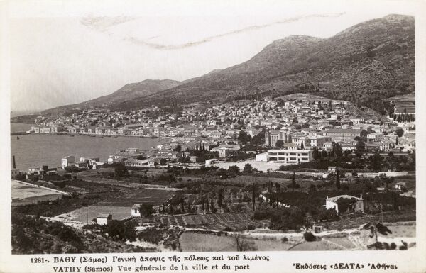 The Port and Town of Vathy, Island of Samos, Greece Date: circa 1920s
