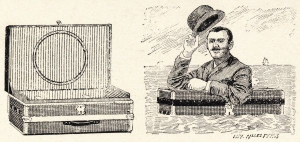 A jolly Victorian gent from the days when Britain unquestionably ruled the waves doffs his hat as he floats proudly in his safety device de jour - his portmanteau buoy! Exposure for one's legs seemingly of no concern when one's bowler