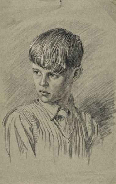 Pencil head and shoulders study of a young boy for a future oil painting by Raymond Sheppard