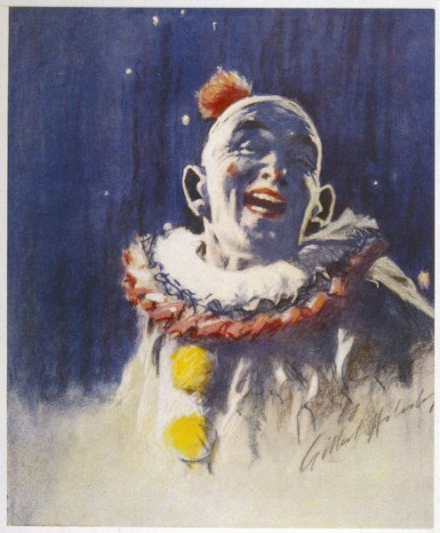A portrait of a laughing clown, in his full costume, at Bertram Mills Circus