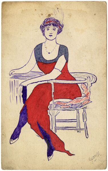 Drawing a fashionable lady in an evening dress with a bandeau and aigot in her hair by George Ranstead, an amateur soldier artist of the Great War who produced a variety of some 96 illustrations on postcards during this period. circa 1916