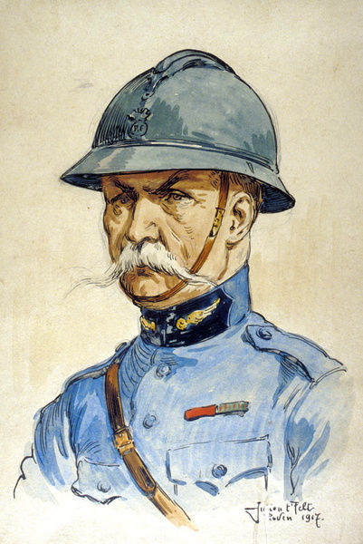Portrait of a French Officer wearing the Adrian helmet