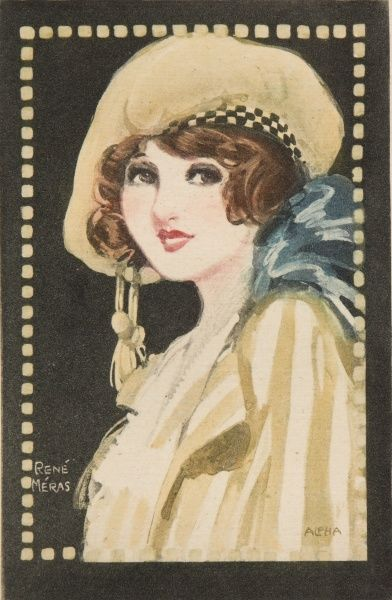 A pretty young woman dressed in a jaunty beret style hat