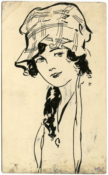 Portrait of a young girl in a bonnet (a style often worn as as sunhat during the Great War). Drawn by amateur soldier artist of the period, George Ranstead. circa 1916