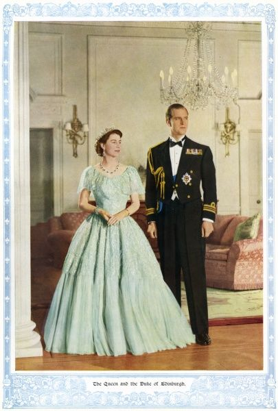 Portrait of Queen Elizabeth II and Prince Philip, Duke of Edinburgh from 1953. Date: 1953