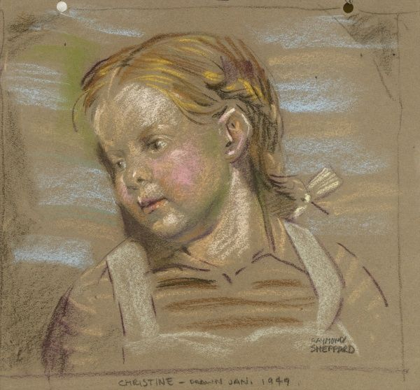 Pastel portrait of young girl by Raymond Sheppard