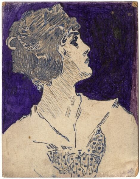 Drawing of a young woman of the World War I era in profile by George Ranstead