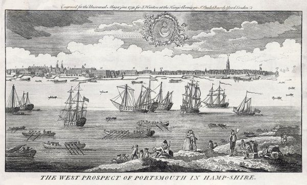 West prospect of Portsmouth, Hampshire: important buildings & shipping depicted & in the foreground inhabitants & sailors smoke, canoodle with local lasses or load cargo