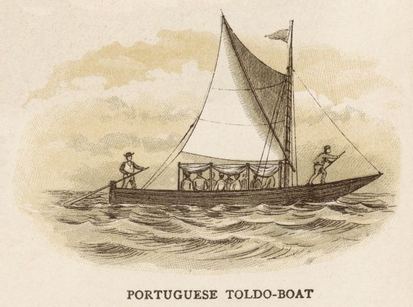 Toldo-boat, carrying several passengers, steered from both bow and stern