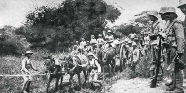 Portuguese troops in southern Angola, West Africa, during the First World War, making their way with difficulty through the countryside. Date: 1916