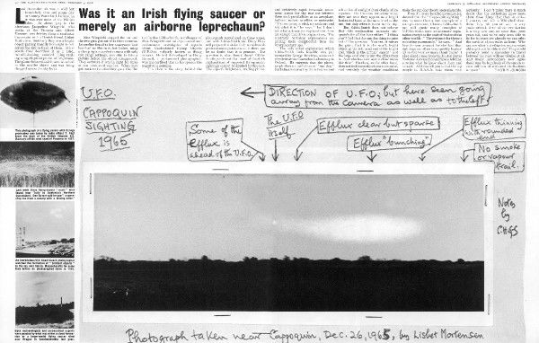 'Was it an Irish flying saucer or merely an airborne leprechaun?' A double-page spread relating to an incident that occurred in County Waterford, Ireland on the 26th December 1965