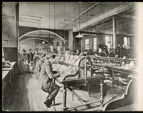 The General Post Office, St Martin's-Le-Grand, London: Foreign Mail Sorting Room. (2 of 2)