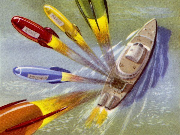 A MAILBOAT FIRES OFF GUIDED ROCKETS FOR POSTAL DELIVERY