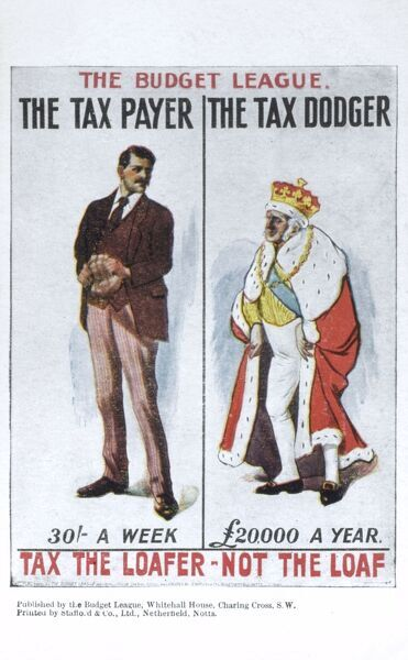 Postcard for the 'Budget League' chaired by Winston Churchill to promote the 'People's Budget' introduced by David Lloyd George. 'Tax the Loafer - not the loaf!'. The budget included income tax rises, increased death duties