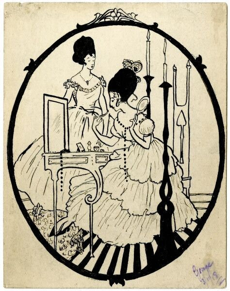 Attractive illustration on a postcard by amateur soldier artist of the Great War, George Ranstead; a decorative image featuring two ladies in 18th century costume, one at her dressing table. 1918
